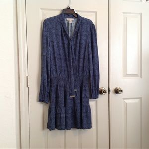 Michael Kors Tie Neck Gathered waist Shirt Dress